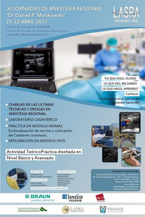 XI Jornadas de Anestesia Regional - 21 y 22 de Abril 2017